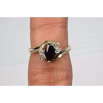 10k Yellow Gold .58 ct Diamond & Sapphire Cocktail Ring Marquise Blue Size 6 SMG
