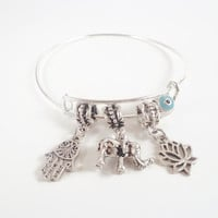 Hamsa Hand Bracelet ~ Good Luck Amulet Jewelry , Hand of God Gift , Alex and Ani Inspired Elephant Bracelet , Evil Eye protection bangle