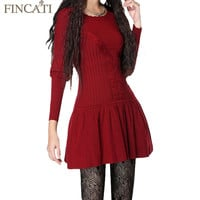Women Vintage Bodycon Cotton Wool Dresses Long Lantern Sleeve O-Neck Knitted Flare