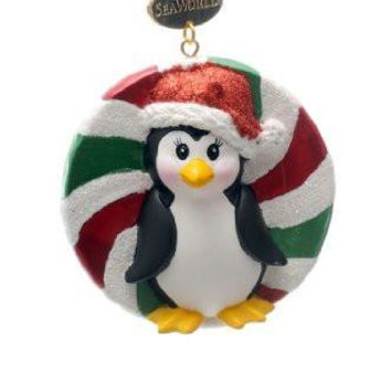 SeaWorld Penguin Candy Resin Ornament New with Tag