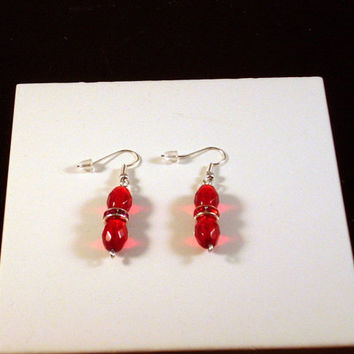 "ELEGANT - Red Crystal and Rhinestone Dangle Earrings 2"" Silver Aluminum Wire Wrapped!"