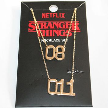 Licensed cool Netflix Original Stranger Things ELEVEN 011  & 08 Bestie Necklace Set Gold Tone