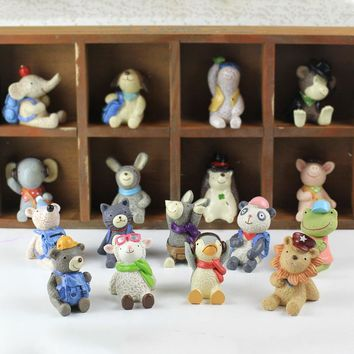 Japanese original zakka DIY kawaii 17pcs fashion animals dog cat panda bear frog monkey Hedgehog piglet figures toys gift
