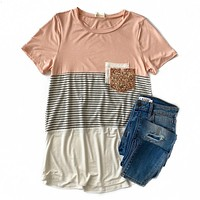NEW! Pink and Gray Striped Color Block Top with Double Sequin Pocket