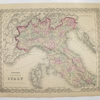 Northern Italy Map, Tuscany Lombardy Italy Gift 1881 Colton Map, 1st Anniversary Gift for Couple, Italy Art Map Gift for Her, Italian Decor