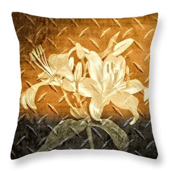 """Antique Metallic Flowers Throw Pillow for Sale by Carolyn Marshall - 14"""" x 14"""""""