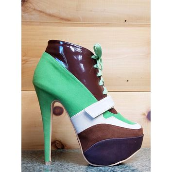 """Mona Mia 5"""" High Heel Sneaker Boot Lace Up Front Green"""