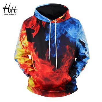 HanHent Ice and Fire 3D Printing Men's Hoodie Big Size Long Sleeve Hooded Men's Clothing Funny Swag Sweatshirts 3d HD0034