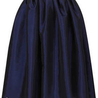 NAVY BLUE TAFFETA SKIRT