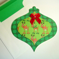 Ornament Die Cut Card with Reindeer on Green Dotted Paper , Holiday Cards , Embossed Christmas Cards