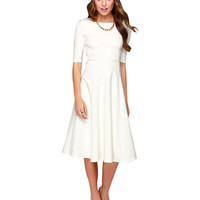 White Dress 3/4 Sleeve Knee Length Casual Dress