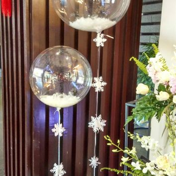 1pcs clear foil balloons+5g feather transparent balloons birthday wedding party decoration funny toys clear bubble balloon