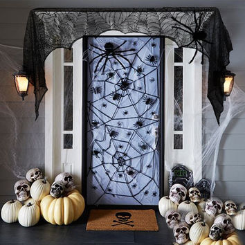 Black Spider Belfry Fireplace Mantel Scarf Halloween Decorations Home Decoracion Haunted House Halloween Decorations and Props