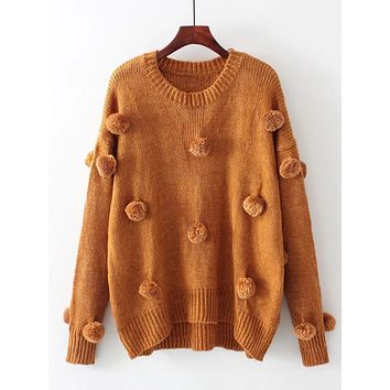 Women Fall Pom Pom Design Patch Drop Shoulder Knitwear Fashion O-neck Long Sleeve Tassel Sweater