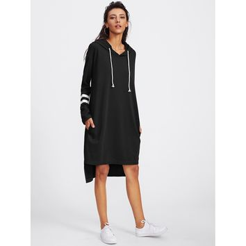 Varsity Striped Dip Hem Hoodie Dress
