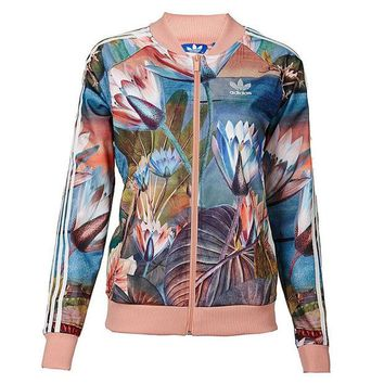 DCCKH3L Adidas' Women Sports Casual Lotus Print Long Sleeve Cardigan Zip Baseball Clothing Jacket Coat