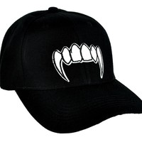 White Vampire Fangs Hat Baseball Cap True Blood Gothic Clothing