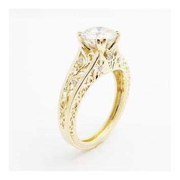 Filigree Design Moissanite Engagement Ring Solid 14K Yellow Gold Ring Art Deco Moissanite Ring