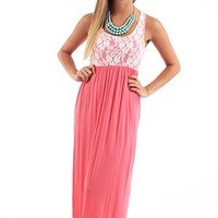 Carried Away Maxi Dress, coral