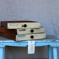 3 vintage wooden drawers : stackable office organization storage