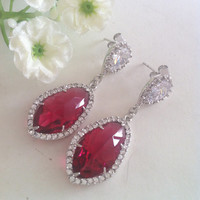 Red Ruby Glass and Cubic Zirconia Stud Dangle Earrings, Sterling Silver Posts, Bridal Earrings, Gift, Christmas, Valentine