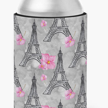 Watercolor Pink Flowers Eiffel Tower Can or Bottle Hugger BB7503CC