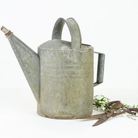 Large Vintage Zinc Galvanized Watering Can