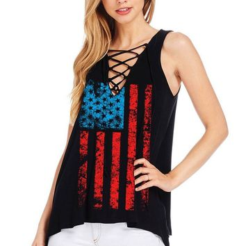 Women's V-Neckline with Lace-Up Design and American Flag Print Tank Top