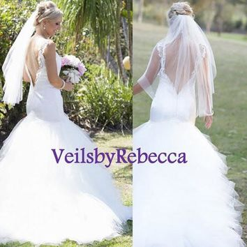 Ready to Ship plain tulle veil, simple elbow tulle veil, 1 tier fingertip tulle veil, simple blush tulle veil V600