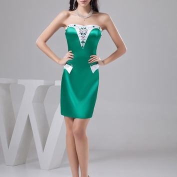 New Arrival  2017 Real Bright Satin Beaded Sequins Mini Custom Straight Sweetheart Neck Cocktail Dresses Homecoming Dress