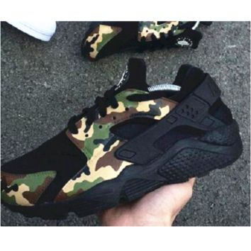 """""""NIKE""""AIR Huarache Running Sport Casual Shoes Sneakers black contrast camouflage green H-AA-SDDSL-KHZHXMKH"""