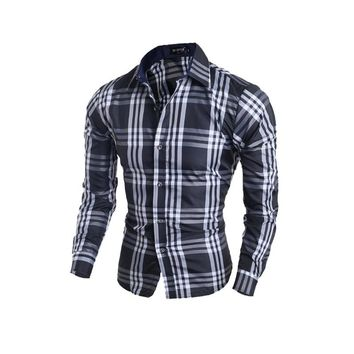 Men shirt long-sleeved men's shirt Casual plaid shirt