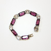 Art Deco Amethyst and Clear Crystal Sterling Bracelet