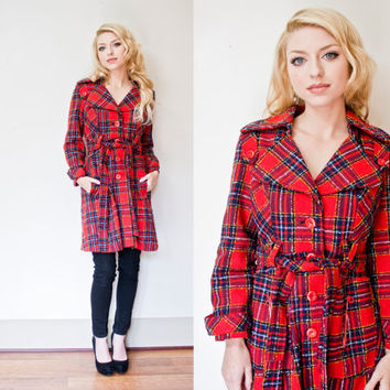 Vintage 1960s Coat - Plaid Wool Red Trench Coat 60s Jacket - Small - Medium