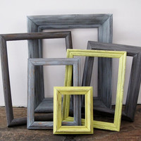Gray And Yellow Frame Set Of 6 Open Empty Rustic Wall Decor 8x10 5x7