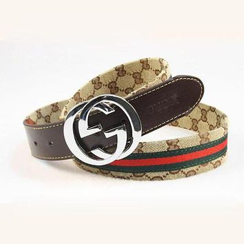 GUCCI Woman Men Fashion Metal Letter Smooth Buckle Belt Leather Belt Brown I