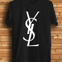 New YSL Logo Men Black T Shirt Tee Size S-XXXL YS1