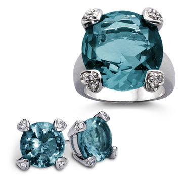 26-Carat Simulated Blue Topaz Solitaire Calypso Ring and Earrings 2pc Set