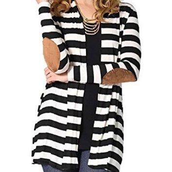 Women's Striped Cardigan with patch elbows