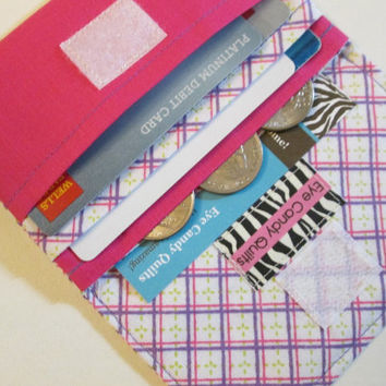Pink and Purple Plaid, Women's Wallet, Card Wallet, Change Wallet, Mini Wallet, Small Wallet, Fashion Accessories
