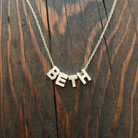 Small Personalized Necklace with Four Uppercase Block Initial Charms in Silver with Sterling Silver Chain