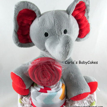 Neutral Diaper Cake | Elephant Diaper Cake | Baby Diaper Cake | Baby Shower Gift | Baby Shower Decoration | New Mom Gift | Unique baby gift