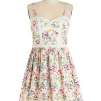 ModCloth Long Strapless A-line Keep Your Botanical Dress