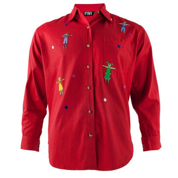 Children Ready To Hug Red Adult Button-Up Long Sleeve T-Shirt
