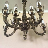 Vintage Mid Century Large Victorian 2 Tier Brass Chandelier 10 Lights  Natural Patina Art Deco