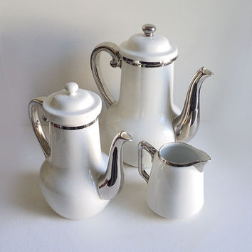 French Art Déco Tea set, French Coffee Set, Aluminite Frugier, French Tea Maker, Coffee Maker, Coffee Pot, Teapot, Milk Jug Creamer