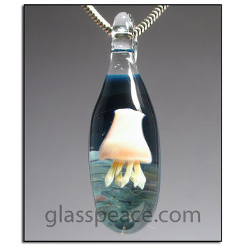 Jellyfish Jewelry Glass Pendant lampwork focal bead necklace - Glass Peace Glass Jewelry (5820)