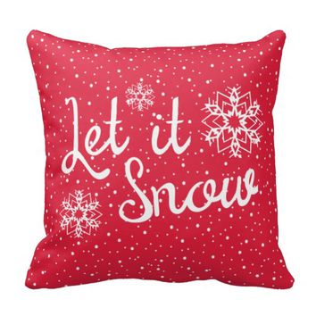 Snowflake Let it Snow Red Christmas Throw Pillow