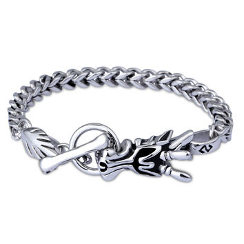 Men's Chinese Element Dragon Head Bracelet 316L Titanium Steel Antique Silver al Ornaments Polished SM6