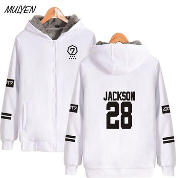 MULYEN Got7 Kpop Thick Jacket Coat Women Men Member Name Print Zipper Sportswear Tracksuit Fans Sweatshirt Moletom Plus size
